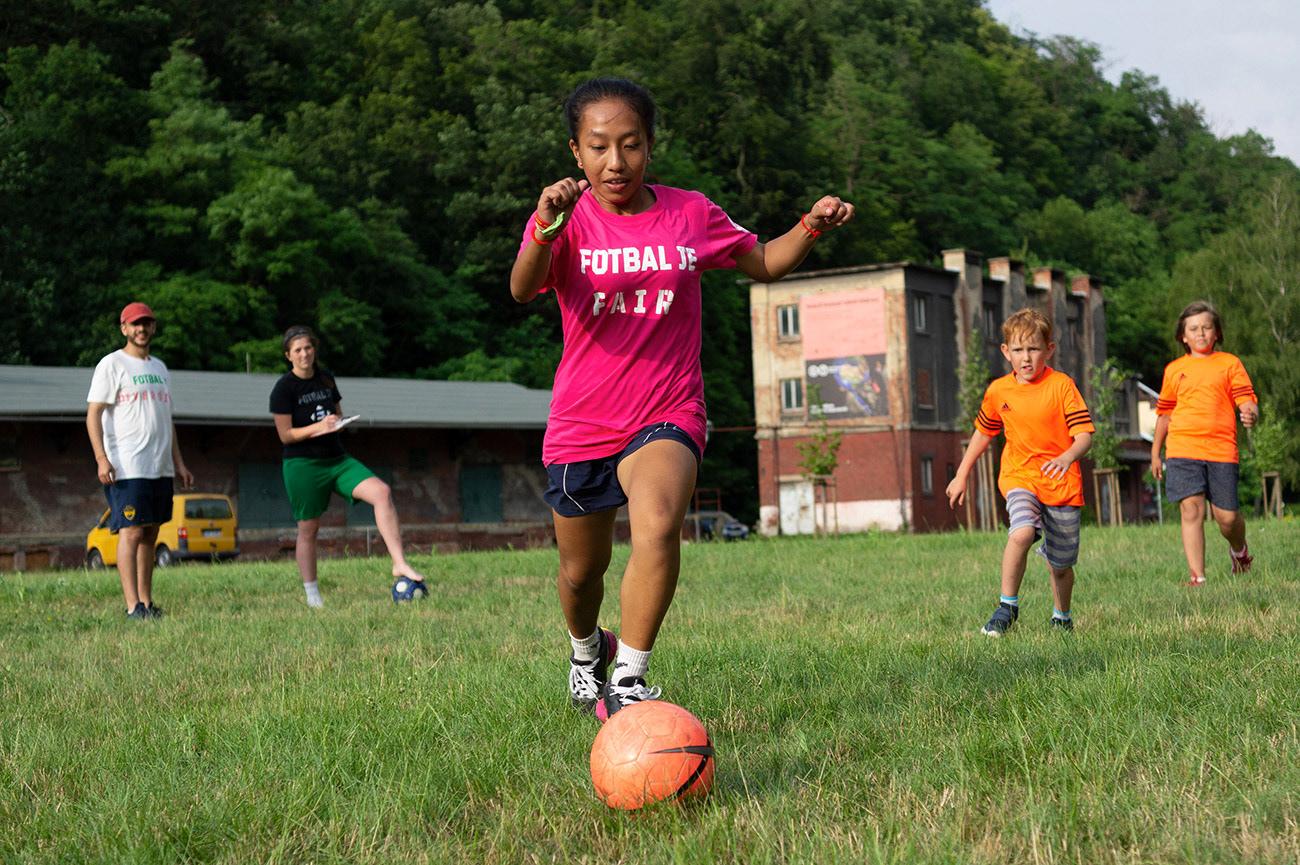 Young football players are playing football match, Action day, Landek Park, Ostrava, Czech Republic