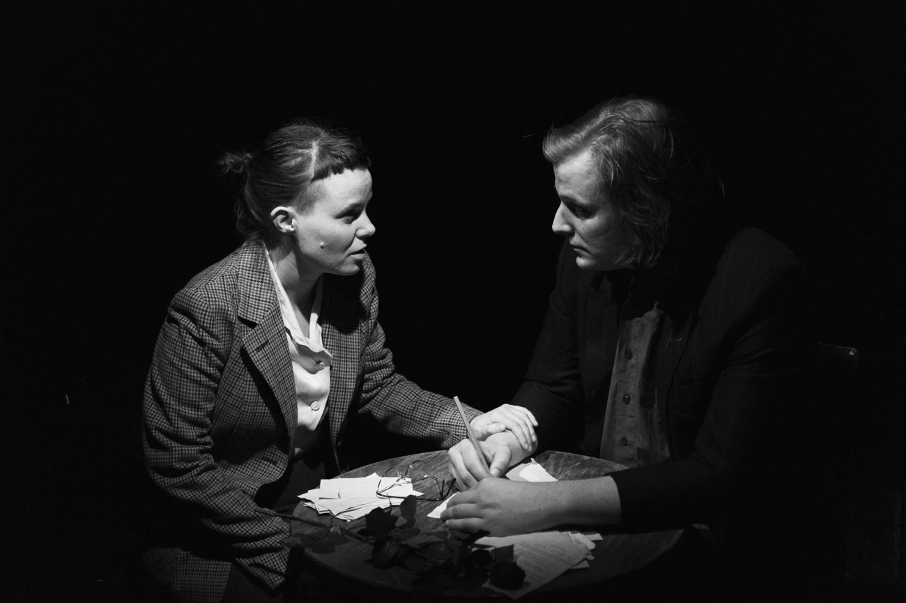 Theatrical photograph of actor and actress on the theatre stage, Photograph from theatre play. Barbara Polajnar, Izidor Gavez, Ema, Kolektiv ZIZ, Narodni dom Maribor, Maribor, Slovenia