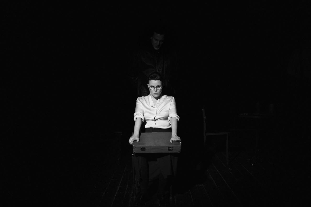 Theatrical photograph of actor and actress on the theatre stage, Barbara Polajnar, Izidor Gavez, Ema, Kolektiv ZIZ, Narodni dom Maribor, Maribor, Slovenia