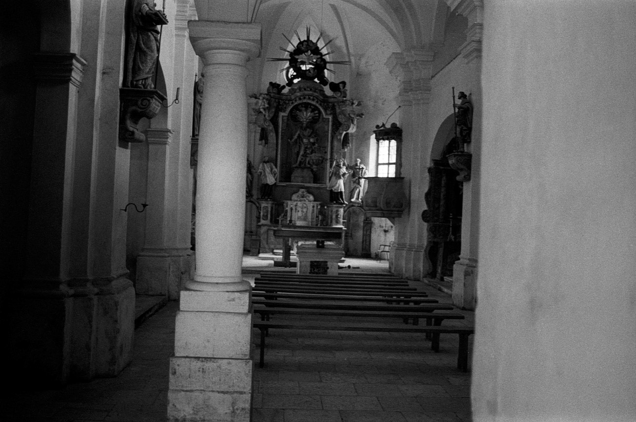 Interior of old historical Christian sacral building, Church of Saint Areh, Pohorje, Slovenia