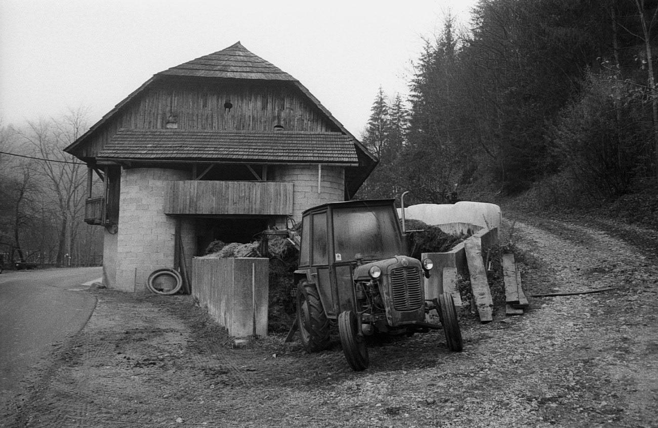 Tractor in rural area, Črna na Koroškem, Slovenia