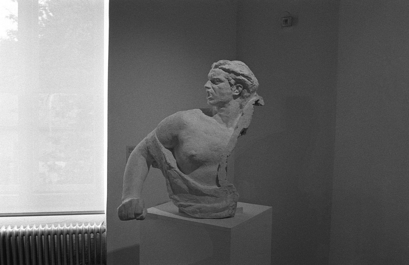 """Statue and sculpture made in socialist realism art style, """"Heroes We Love"""" exhibition, Maribor Art Gallery (UGM), Maribor, Slovenia"""
