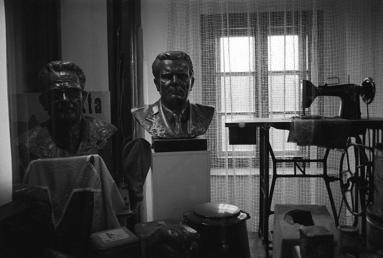 "Bust of communist statesman Josip Broz Tito, ""How Velenje became a town"" exhibition, Velenje museum, Velenje, Slovenia"