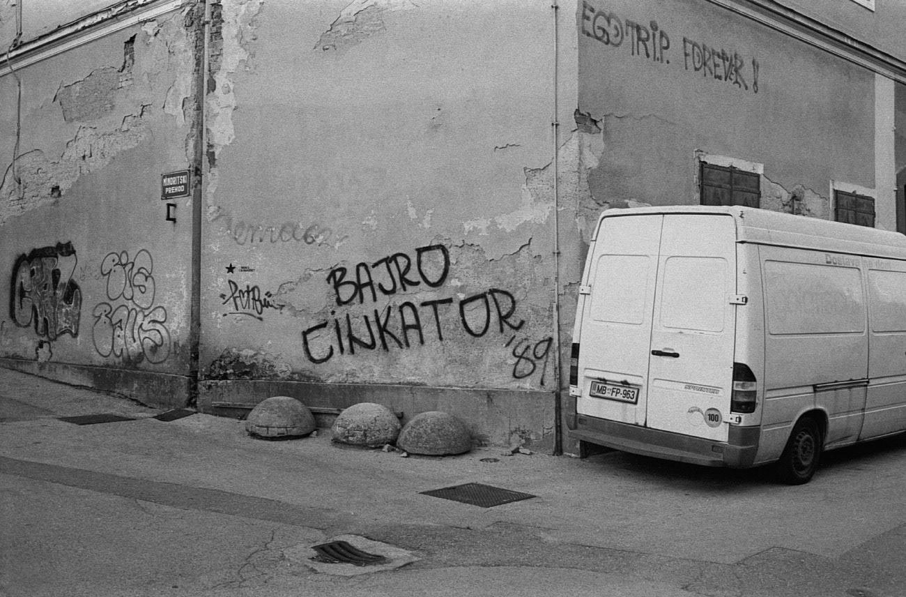 Street with graffiti on the wall, Lent, Maribor, Slovenia