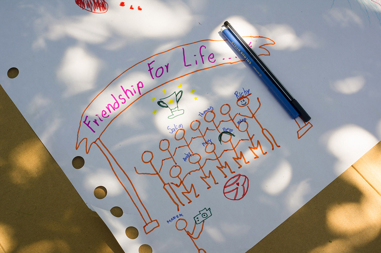 Friendship for life - Drawing drawed by marker, mid-term evaluation, near Valeč, Czech Republic
