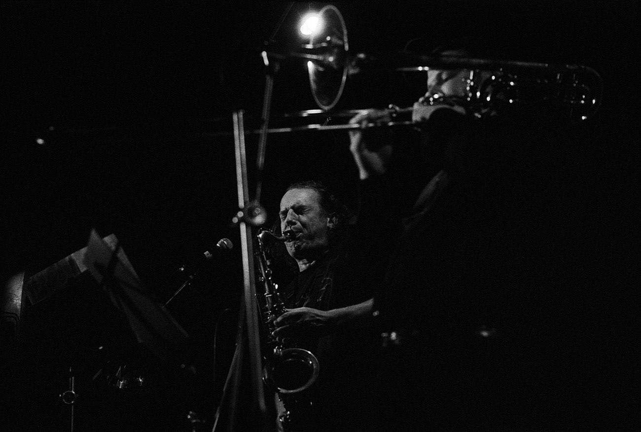 Concert photograph of male saxophonist and musician on the stage, Mikoláš Chadima, Jan Jirucha, MCH Band, Klub Hudební bazar, Ostrava, Czech Republic