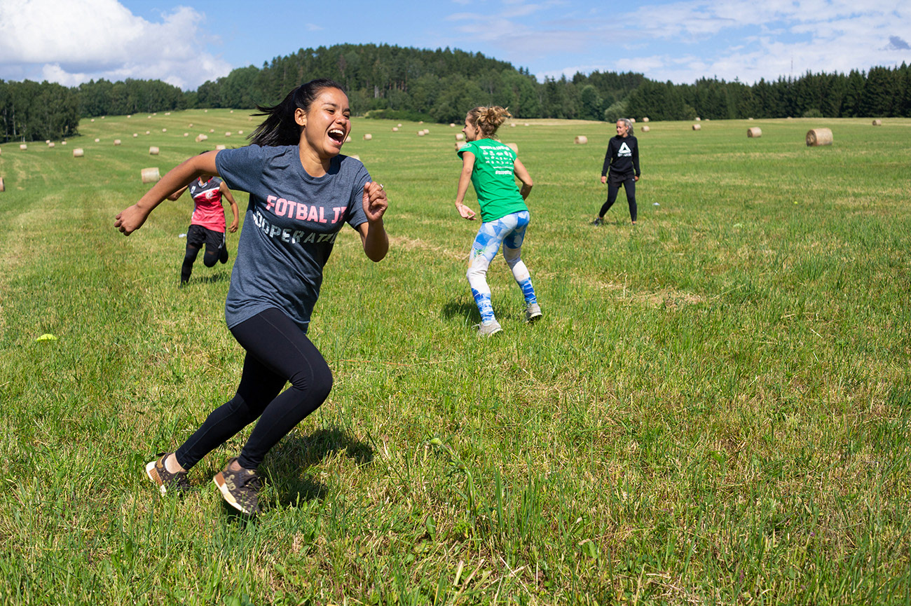 Young people are enjoying sport and movement, leisure time, near Nežichov, Czech Republic