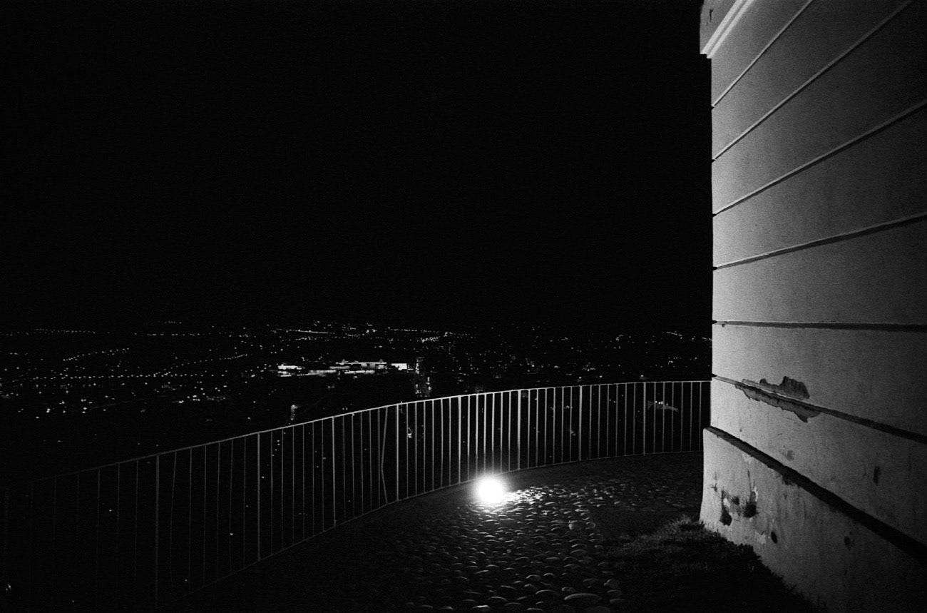 Lit landmark at nigth, Piramida hill, Maribor, Slovenia, 2015