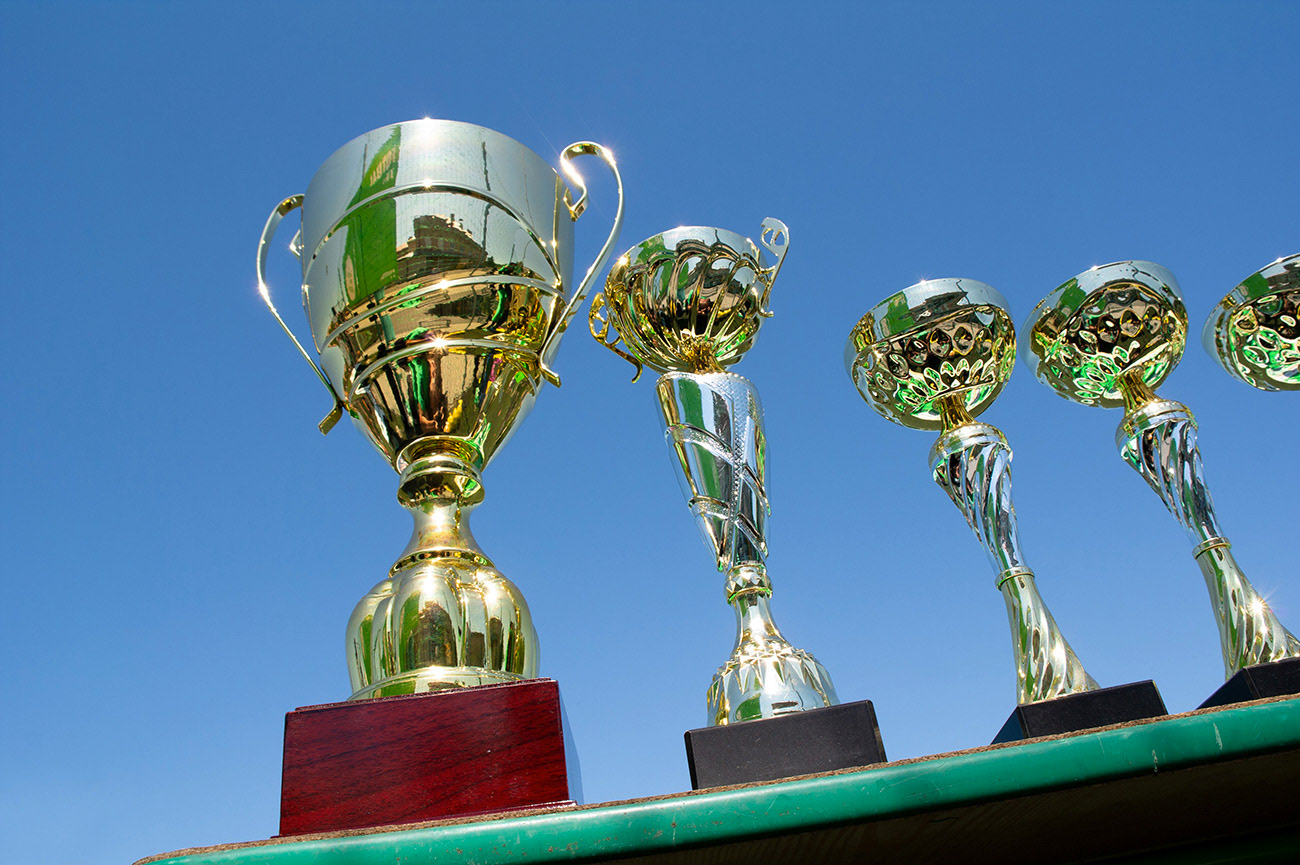 Golden cups as prizes for winners, Action day, Plzeň, Czech Republic