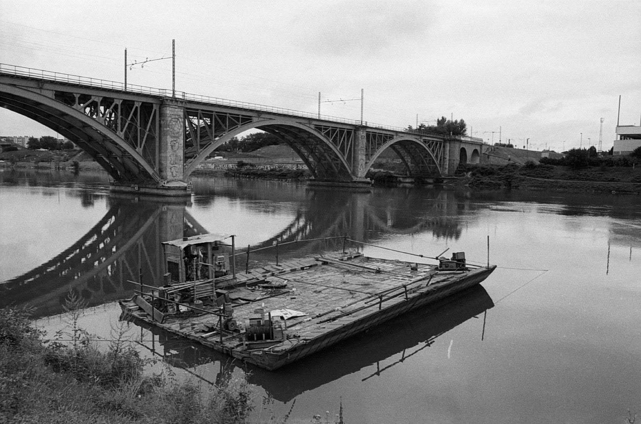 Railway bridge on Drava river, Maribor, Slovenia
