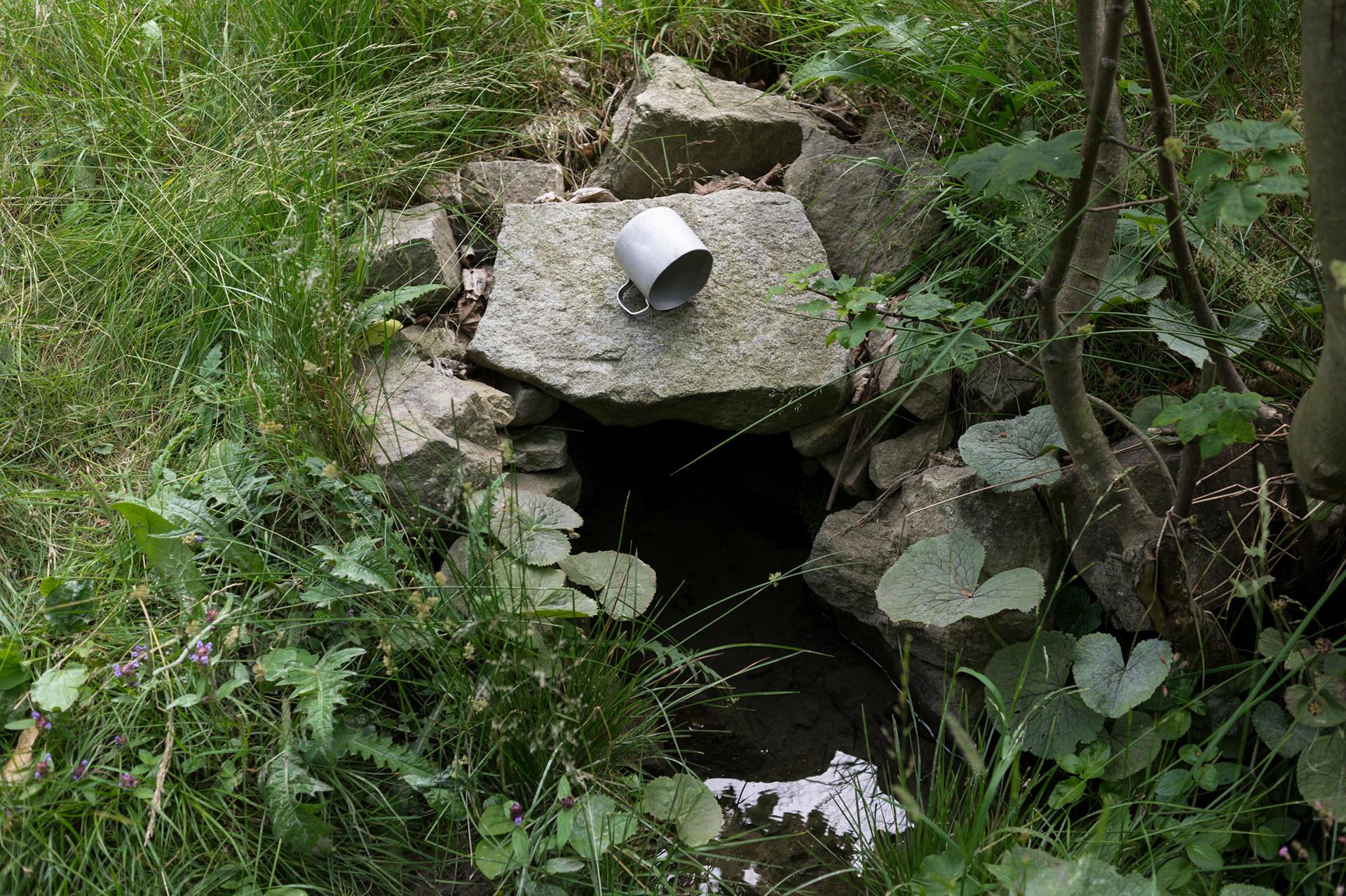 Tin mun in the nature, source of the Bystřice river, Vsetínské hills, Beskid mountains, Czech Republic