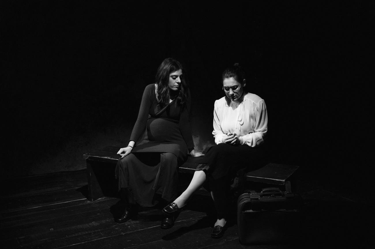 Theatrical photograph of actresses on the theatre stage, Tamara Zaner, Rebeca Jazbinšek, Ema, Kolektiv ZIZ, Narodni dom Maribor, Maribor, Slovenia