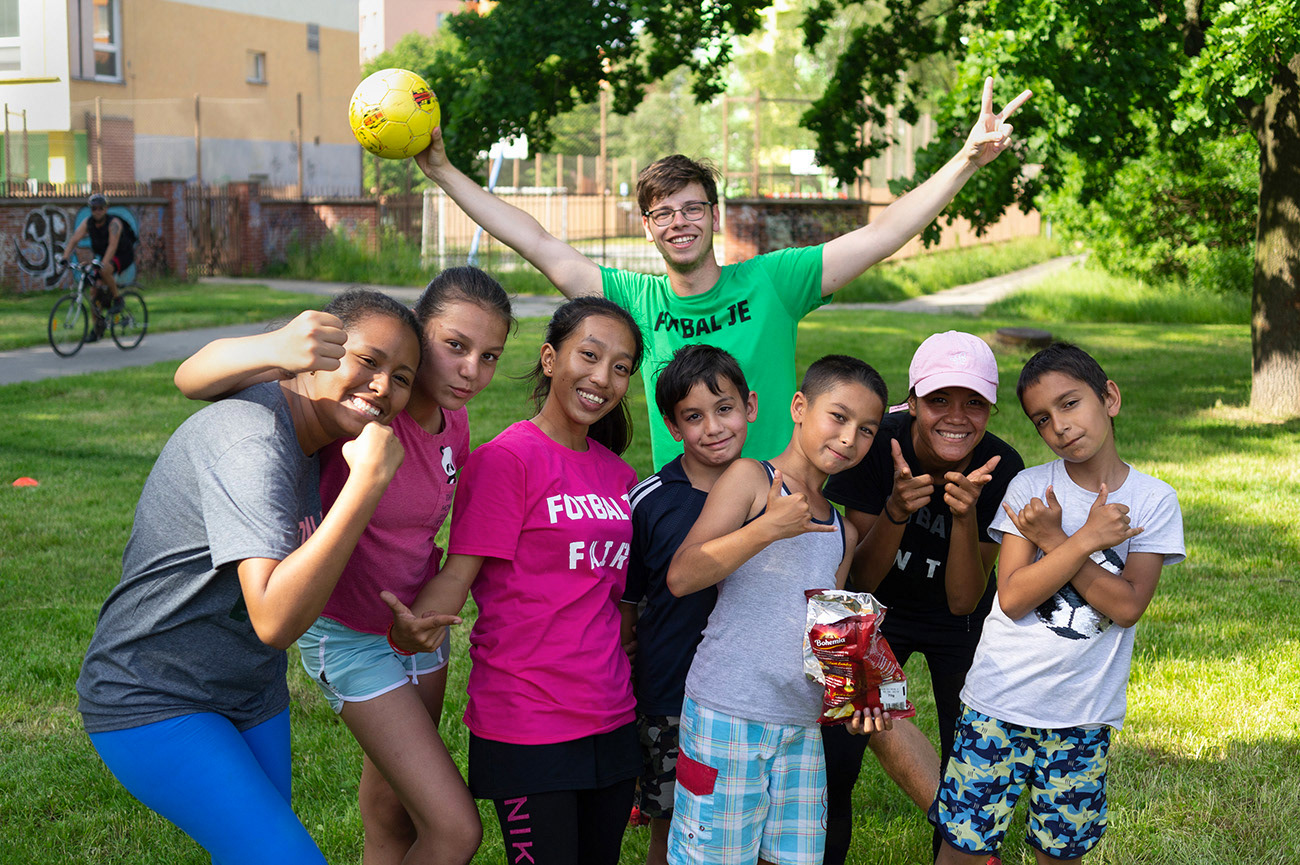 Group photo of children and young adults, Workshop with local children, Magone youth club, Ostrava, Czech Republic